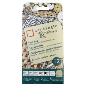 "Pigma® Micron® Zentangle® 3 1/2"" Tan Renaissance Tile Set; Color: Multi; Format: Pencil; (model 50112), price per set"