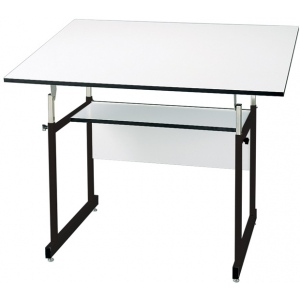 "Alvin® WorkMaster® Jr. Table Black Base White Top 31"" x 42"": 0 - 35, Black/Gray, Steel, 29"" - 44"", White/Ivory, Melamine, 31"" x 42"", (model WMJ-3-XB), price per each"