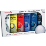 Reeves™ Acrylic 6-Color Set; Color: Multi; Format: Tube; Size: 200 ml; Type: Acrylic; (model 8380900), price per set