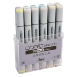 Copic® Sketch 12-Color Marker Set EX-4: Multi, Double-Ended, Alcohol-Based, Refillable, Broad Nib, Brush Nib, (model S12EX-4), price per set