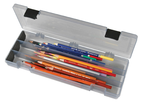 "Flambeau ArtBin Pencil/Utility Box: Translucent/Charcoal, 12.38"" x 4.87\"" x 1.75\"""