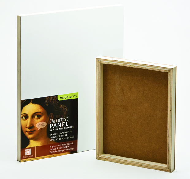 "Ampersand Traditional Profile 3/4"" Cradled Artist Panel:  8\"" x 8\"", Case of 10"