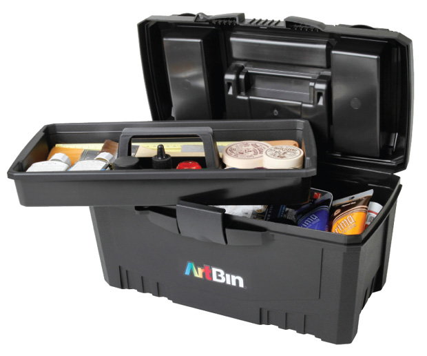 "Artbin 17"" Twin Top Supply Box- Black"