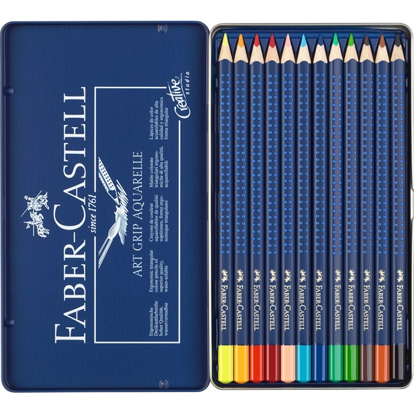 Faber-Castell Art Grip Aquarelle Studio Quality Watercolor Pencil: Tin of 12