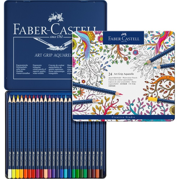 Faber-Castell Art Grip Aquarelle Studio Quality Watercolor Pencil: Tin of 24