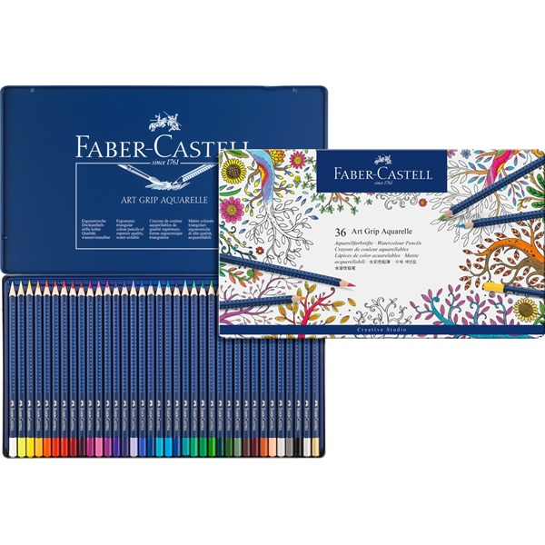Faber-Castell Art Grip Aquarelle Studio Quality Watercolor Pencil: Tin of 36