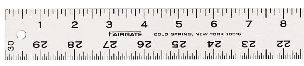 "Fairgate® 48"" Graduated Aluminum Straightedge Ruler: White/Ivory, Aluminum, 48"", General Purpose"