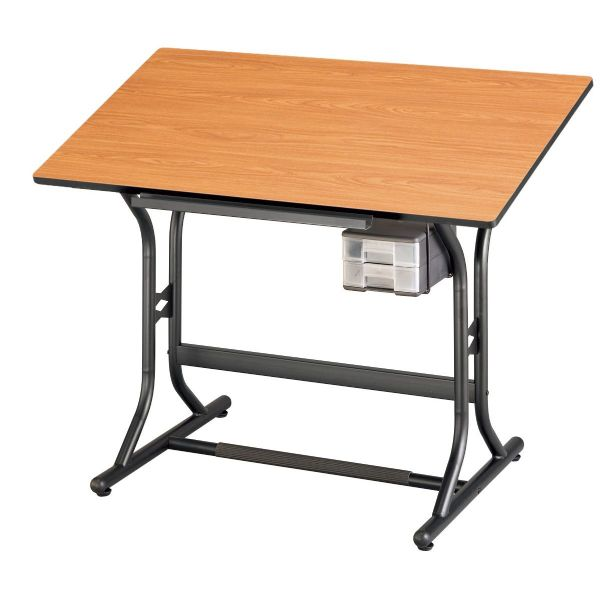 "Alvin CraftMaster™ Art, Drawing, And Hobby Table, Black Base With Cherry Woodgrain Top 24"" X 40"""