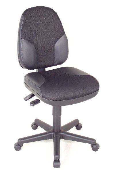 Alvin Black High Back Office Height Monarch Chair With Leather Accents