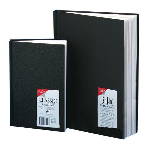 "Cachet® 5.5 x 8.5 Classic Black Sketch Book: Wire Bound, White/Ivory, Book, 110 Sheets, 5 1/2"" x 8 1/2"", 70 lb"