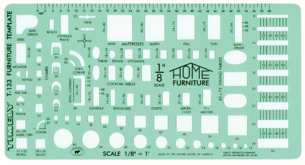 "Timely 1/8"" Scale Furniture Template"