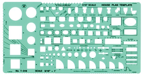 "Timely 3/16"" Scale House Plan Template"