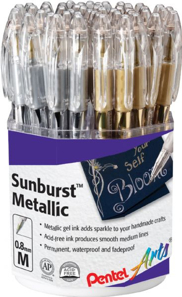 Pentel Sunburst™ Metallic Gel Pen Display