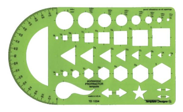 Alvin General Purpose Protractor Template