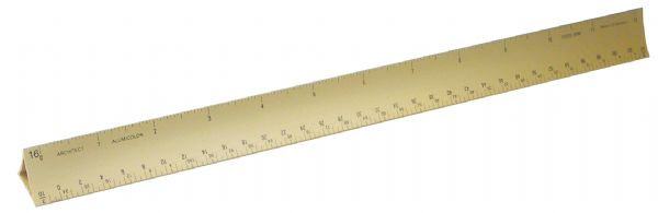 "Alumicolor 12"" Gold Hollow Aluminum Triangular Architect Scale"
