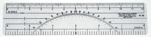 "Westcott® C-Thru® 6"" Protractor Ruler 10 and 20 Parts To The Inch: Clear, Plastic, 6"", Ruler"