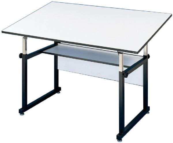 "Alvin® WorkMaster® Table Black Base White Top 36"" x 48"": 0 - 40, Black/Gray, Steel, 29"" - 46"", White/Ivory, Melamine, 36"" x 48"""