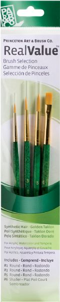 Princeton RealValue™ Oil, Acrylic And Stain Golden Taklon Brush Set
