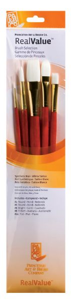 Princeton RealValue™ Oil, Acrylic And Stain White Taklon Brush Set