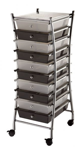 Alvin X-Frame Storage Cart 10-Drawer (Standard) Clear/Smoke