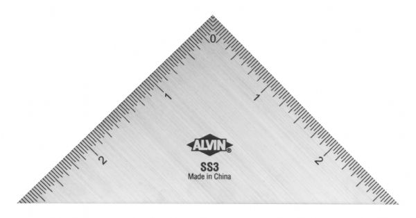 "Alvin 3"" Triangle Stainless Steel Ruler"