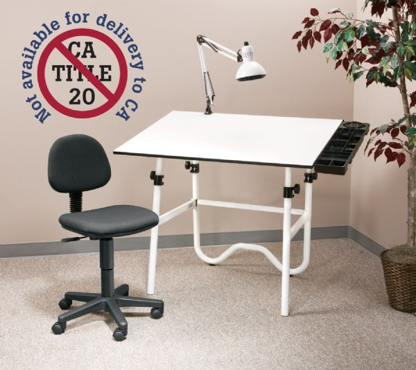 Alvin CC Series Creative Center White Base Onyx Table With Office Chair, Storage Tray, And Lamp