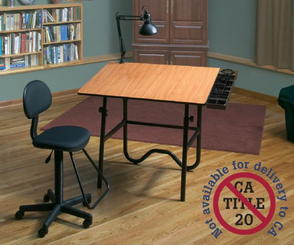 Alvin CC Series Creative Center Black Base Onyx Table With Drafting Chair, Storage Tray, And Lamp