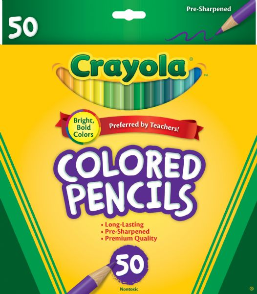 Crayola Long Colored Pencil 50-Color Set