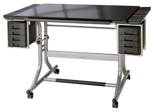 "Alvin® CraftMaster™ II Deluxe Art & Drawing Glass Top Table: 0 - 30, Black/Gray, Steel, 27 3/4"" - 32 1/4"", Black/Gray, Glass, 28"" x 40"""