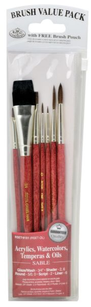 Royal & Langnickel 9100 Series Red 7-Piece Brush Set 7