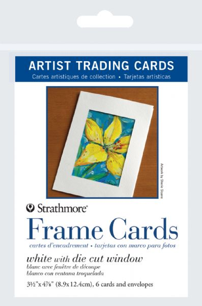 "Strathmore 3.5"" X 4.875"" White Die Cut Window Artist Trading Card Frame Cards"