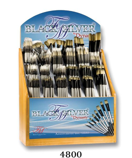 Dynasty Black Silver® Blended Synthetic Oil And Acrylic Brush Display Assortment