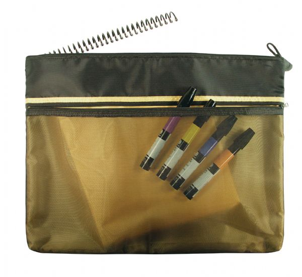 "Alvin 12"" X 16"" Dual Zippered Pocket Fabric Mesh Bag"