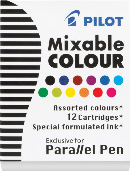 Pilot Parallel Pen Mixable Refill Ink 12-Pack Assorted Colors