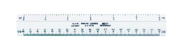 "Alvin 260 Series 6"" White Plastic Flat Engineer Scale"