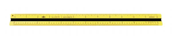 "Alvin 12"" Impact Plastic Mechanical Drafting Triangular Scale"