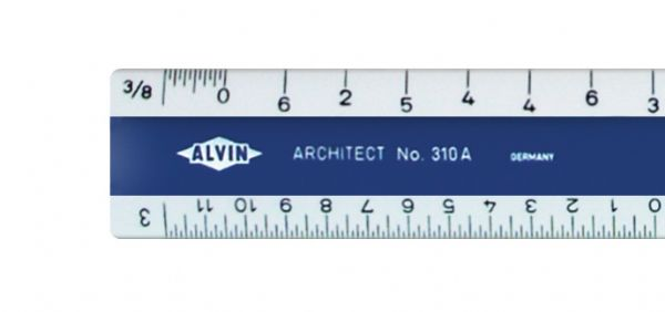 "Alvin 310 Series 6"" White Plastic Flat Pocket Architect Scale"