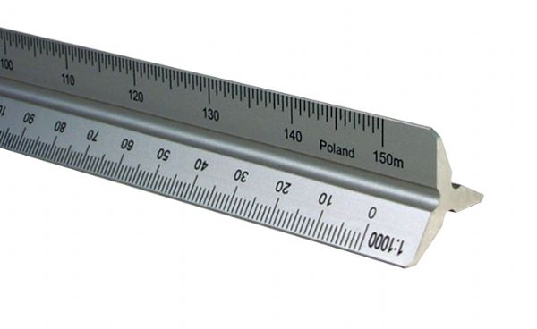 Alvin 2200M Series 30cm Aluminum Metric Triangular Scale