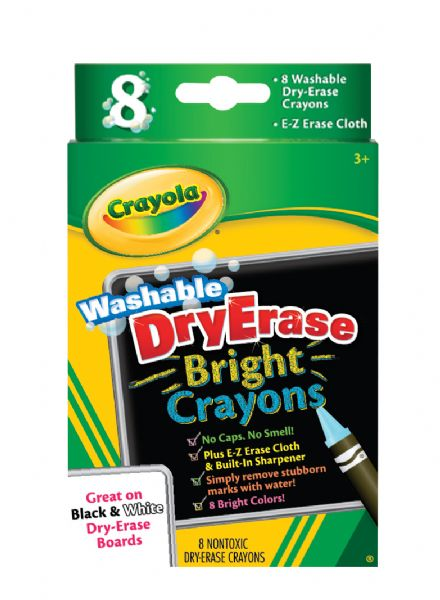 Crayola Washable Dry Erase Bright 8-Color Crayon Set