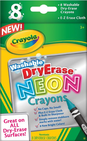 Crayola Washable Dry Erase Neon 8-Color Crayon Set