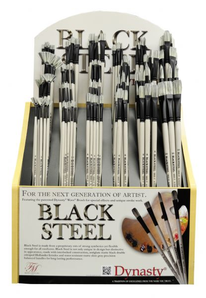 Dynasty Black Steel Synthetic Oil And Acrylic Brush Display Assortment