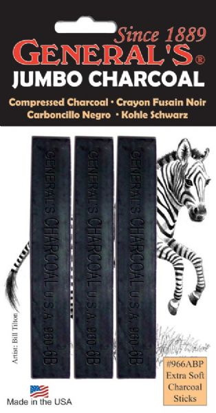 General's® Extra-Soft Compressed Charcoal Sticks