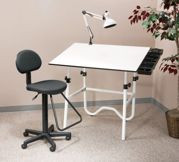 Alvin CC Series Creative Center White Base Onyx Table With Drafting Chair, Storage Tray, And Lamp