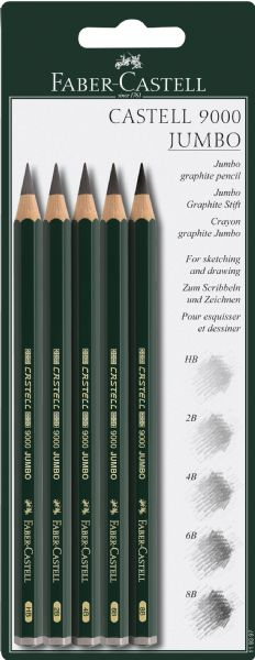 Faber-Castell Castell 9000 Jumbo Graphite Pencils 5-Piece Set