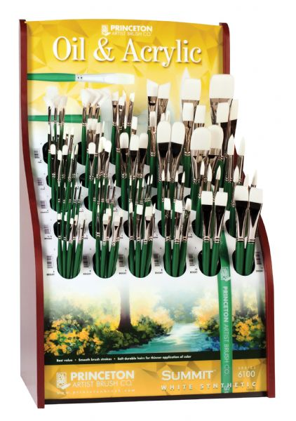 Princeton Better White Synthetic Bristle Oil And Acrylic Brush Display