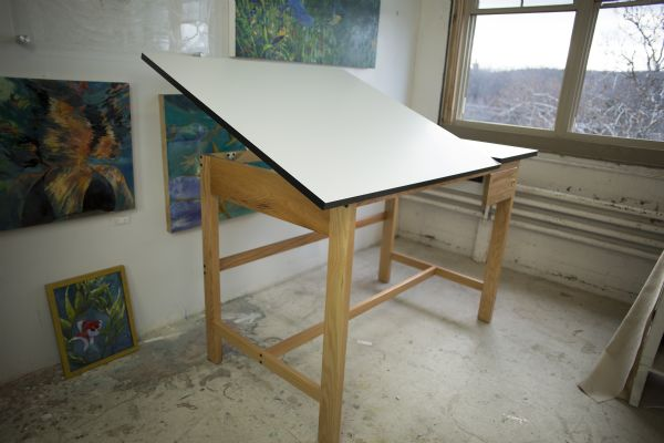 Alvin Titan Split Top Solid Oak White Top Drafting Table