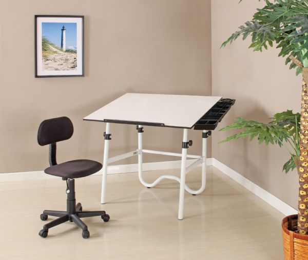 Alvin CC Series Creative Center White Base Onyx Table With Office Chair, And Storage Tray