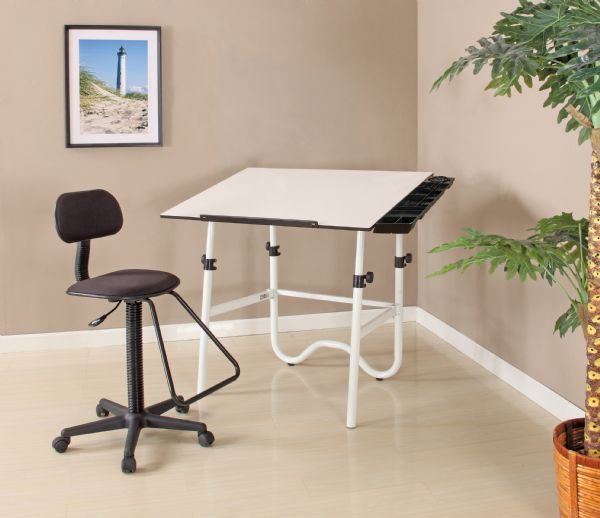 Alvin CC Series Creative Center White Base Onyx Table With Drafting Chair, And Storage Tray