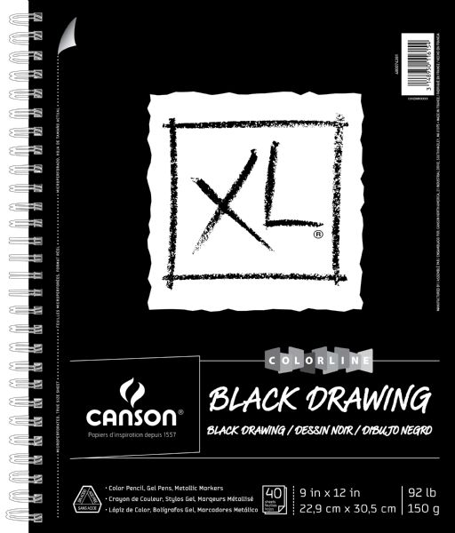 "Canson XL® 9"" X 12"" Black Drawing Pad (Side Wire)"