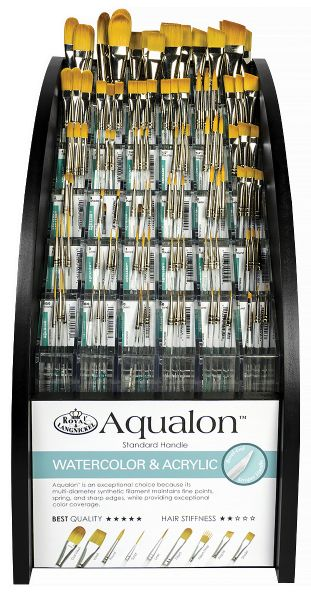 Royal & Langnickel Aqualon Taklon Watercolor And Acrylic Brushes Display